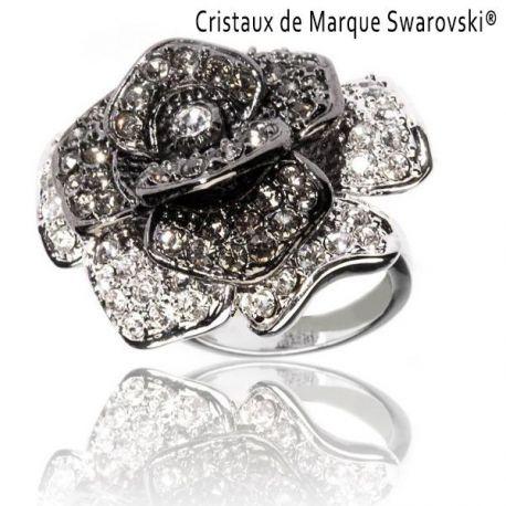 Bague La Rose Noire avec Cristaux Swarovski