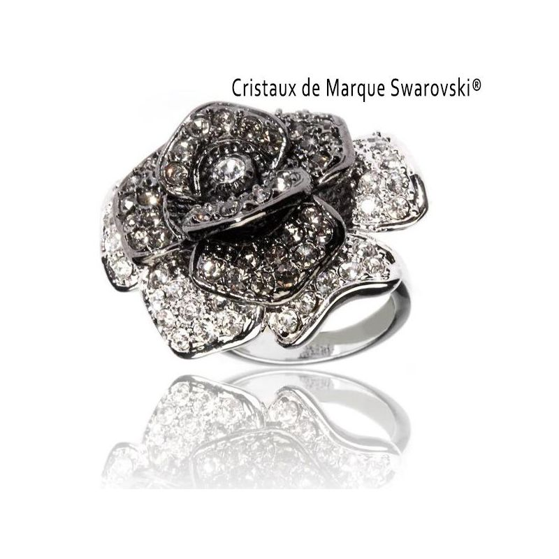 bague la rose noire cristaux swarovski bague dames. Black Bedroom Furniture Sets. Home Design Ideas